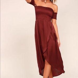 Burgundy Lucy love smocked off shoulder dress